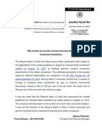 India's RBI Clarifies the Quidelines and Lift Curbs on Overseas Investment 4th September 2013