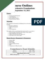 Comprehensive Exam Course Outline, MBA (Reg)