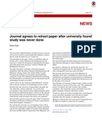 Journal Agrees to Retract Paper After University Found Study Was Never Done