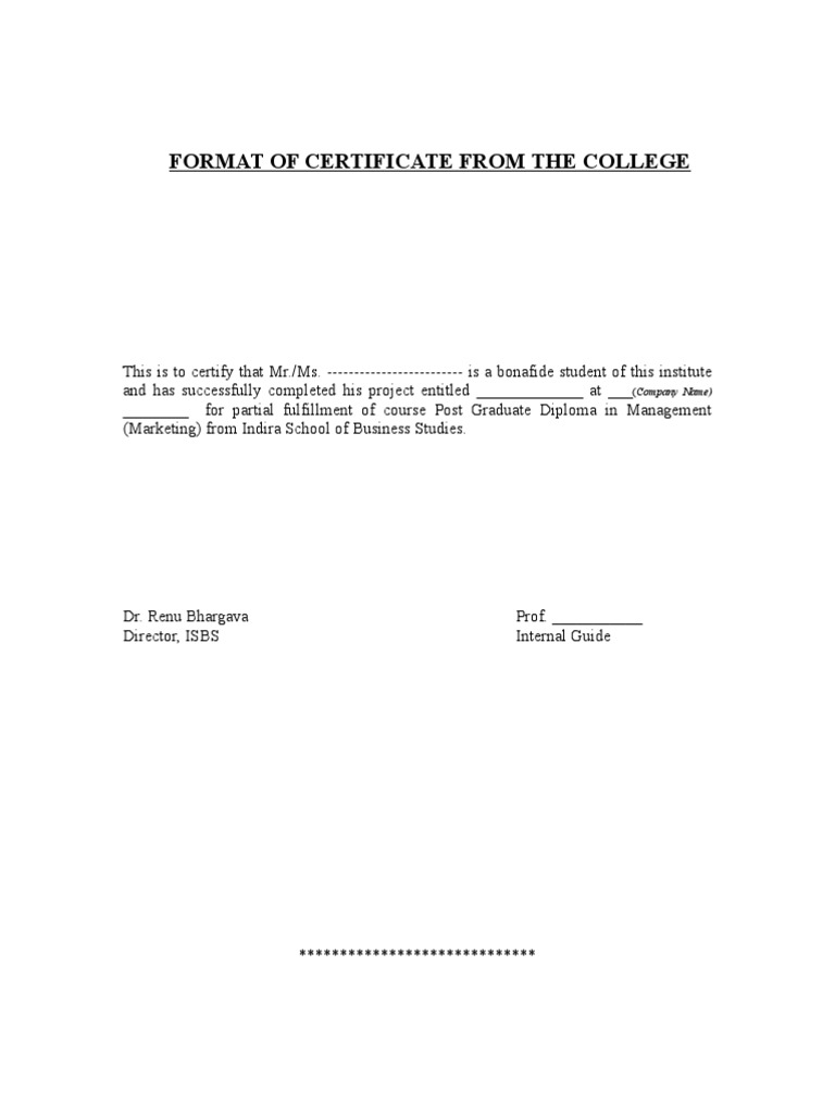 Certificate format isbs company yelopaper Choice Image