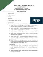 OASD Sept 9-13 Work Session Agenda