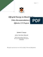 Off-grid Energy in Rural India: