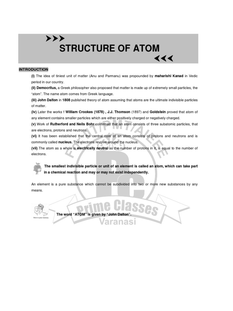 An atom is an indivisible part of a substance