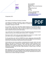 Letter to GFC from Unison 5 September 13