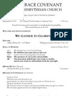 Worship Bulletin September 8, 2013