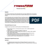 Personal Leave Policy Summary 2013 Final