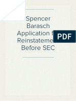 Spencer Barasch Application for Reinstatement Before SEC
