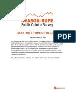 Reason-Rupe Poll May 2013 Toplines