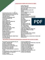 Aquí tenemos una lista de las preposiciones simples más comunes en inglés