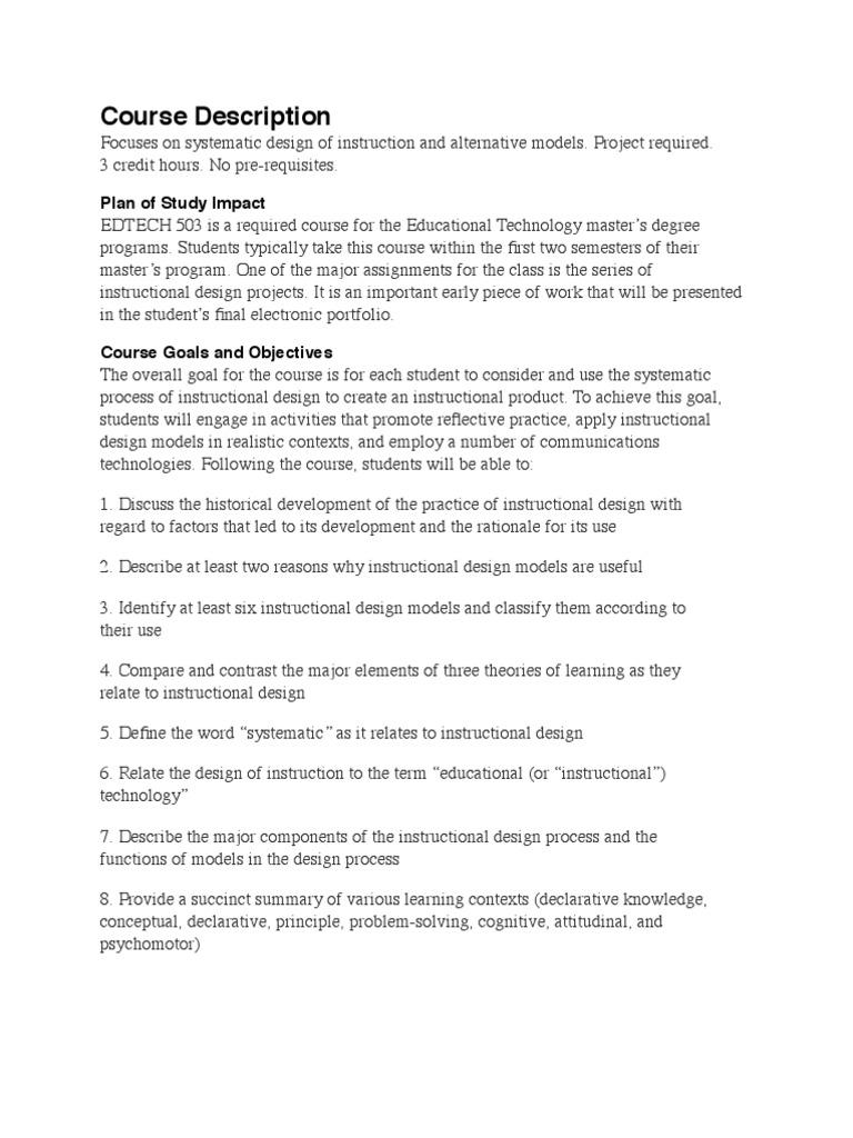 Edtech 503 Syllabus Instructional Design Design Free 30 Day Trial Scribd
