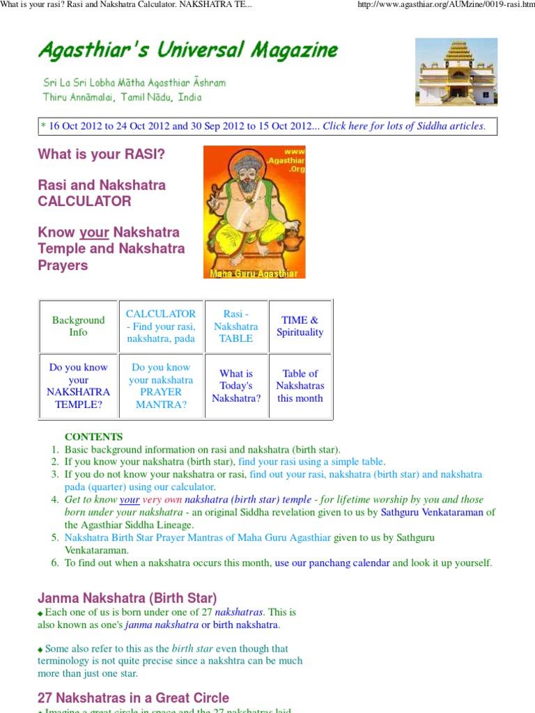 Rasi Nakshatra Calculator Agasthiar Planets In Astrology
