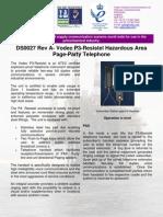 DS0027 Rev a - Vodec P3-Resistel Hazardous Area Page-Party Telephone