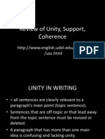 Review of Unity, Support, Coherence