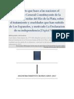 Manifesto Que Hace a Las Naciones El Congreso General Constituyente de La Provincias-Unidas Del Rio de La Plata... (1817)
