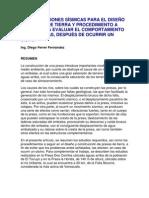 CONSIDERACIONES SÍSMICAS PARA EL DISEÑO DE PRESAS DE TIERRA