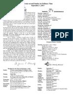 September 1, 2013 Bulletin