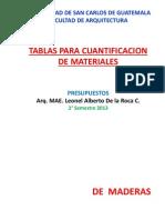 3. Tablas Cuantificacion, 2013