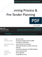 The Planning Process & Pre-Tender Planning