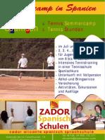 Tennis Sommercamp Spanien Poster