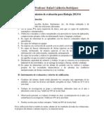 Criterios y procedimientos de evaluación para Biología