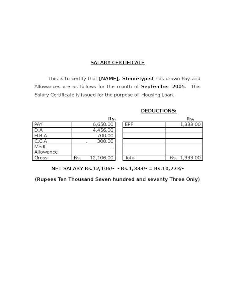 Salary certificate format 2 yadclub Image collections