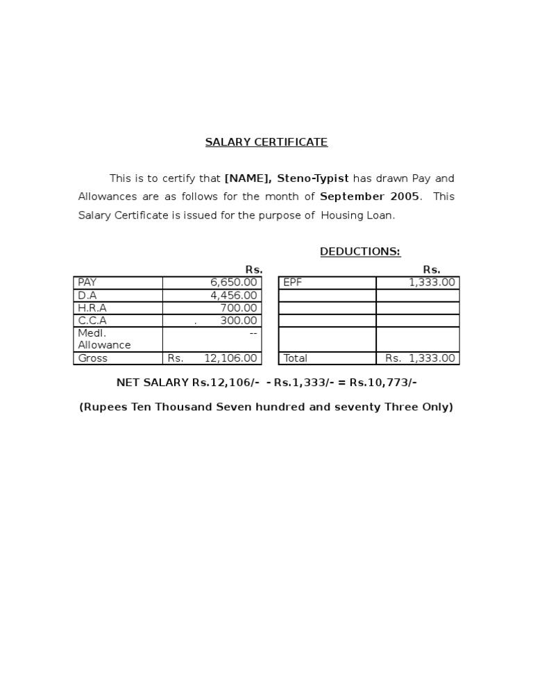 Salary certificate format 2 yadclub Choice Image