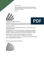 Diámetro y especificaciones del acero