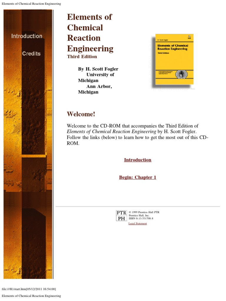 CD_ROM_Elements of Chemical Reaction Engineering_3ed | Chemical Reactor |  Web Browser