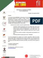 Invitación a la conferencia de prensa de la FIL Arequipa 2013