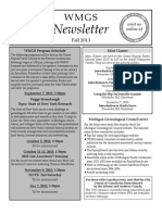 The Fall 2013 Newsletter of the Western Michigan Genealogical Society
