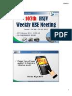 107th HSJV Weekly Meeting