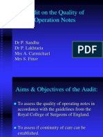 Quality of Operation Notes Audit Presentation
