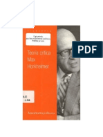 Teoría crítica Max Horkheimer