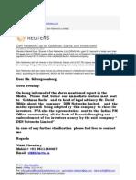 NCTA Caution Communication Sent to Goldman Sachs and International Media on 8th May 2013