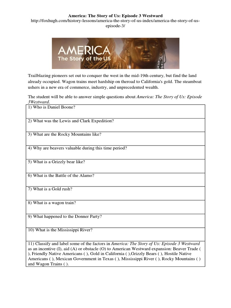 worksheet America The Story Of Us Rebels Worksheet Answers america the story of us episode 3 westward worksheet docx