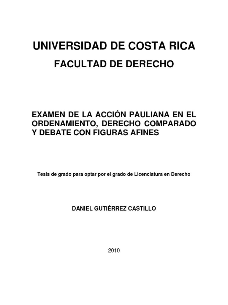 La Accion Pauliana en el Ordenamiento, Derecho Comparado y Debate ...