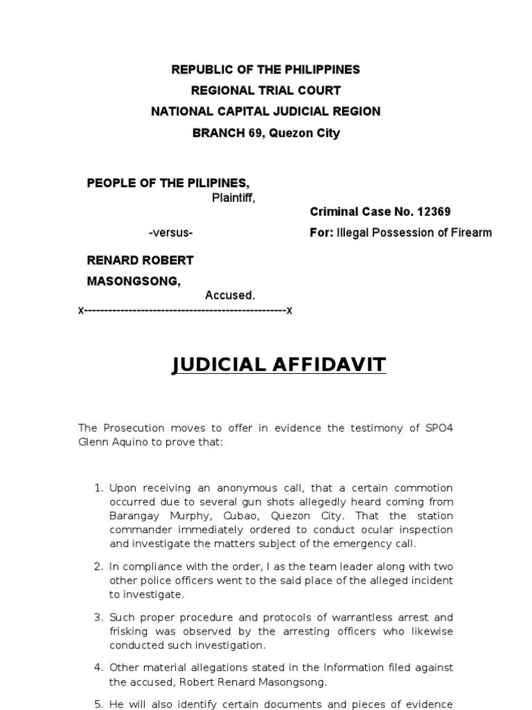 Judicial Affidavit Affidavit