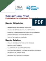 Especialización en Industria Petroquímica Programa 2014