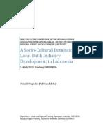 A socio-cultural dimension of local batik industry development in Indoneisa