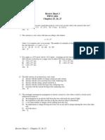 Review Sheet-Exam 2- 25, 26, 27