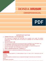 Honda XR250 R XR 250 Owners Maintenance Manual