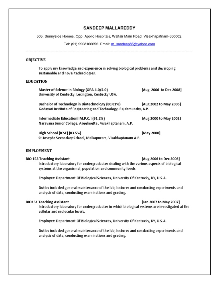 Biotechnology Fresh Graduate Resume Sandeep | Ploidy | Gene