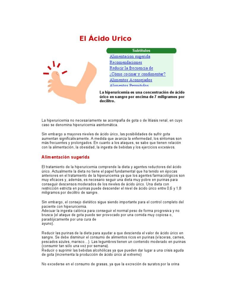 acido urico dieta recomendada alcohol