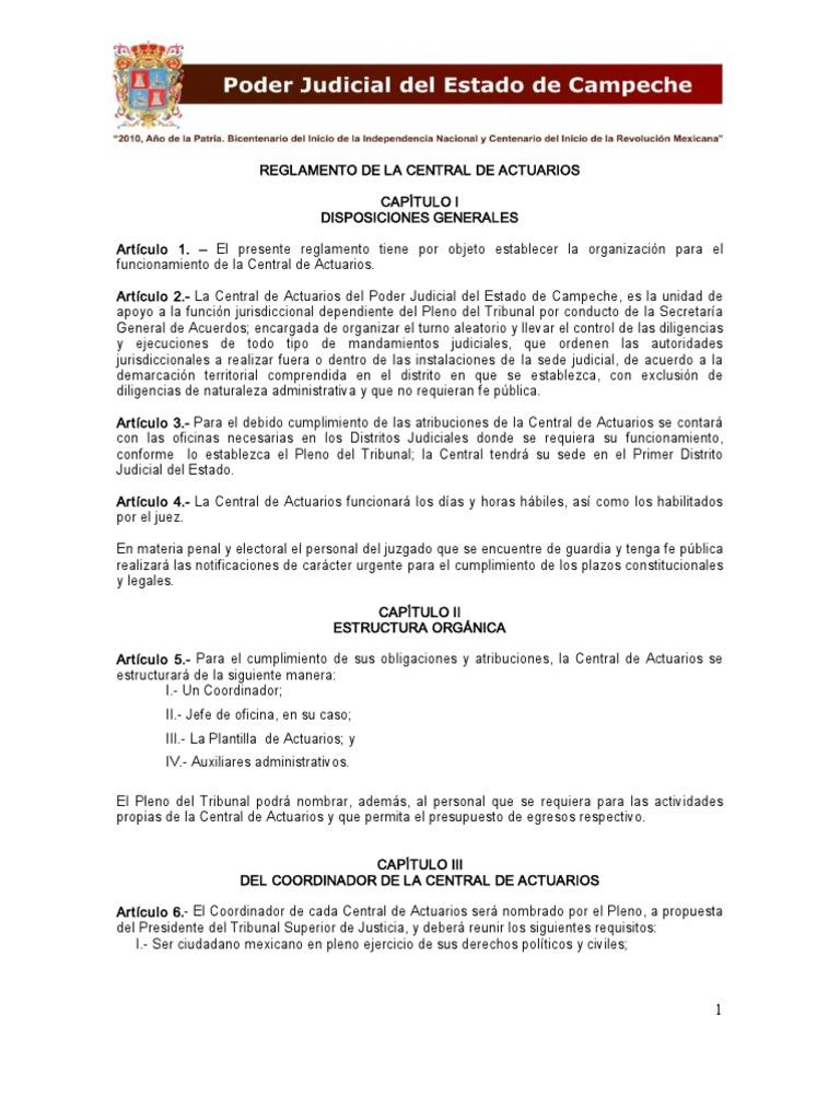 Reglamento Central Actuarios