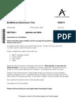 BMAT Past Paper 2009 Section 1