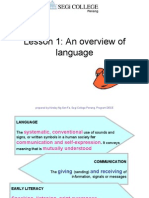 Lesson 1Overview of Language