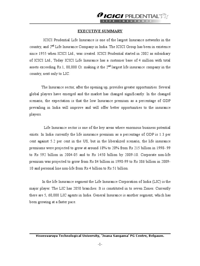 Icici Prudential Project Report Insurance Life Insurance