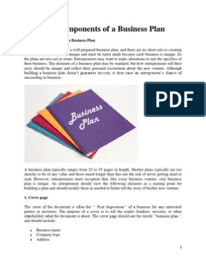 Essential Components of a Business Plan pdf | Income