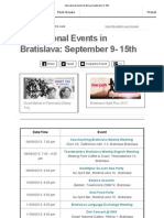 International Events Bratislava September 9-15th