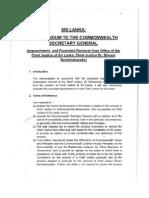 Justice PN Langa Report on Lankan CJ's Impeachment